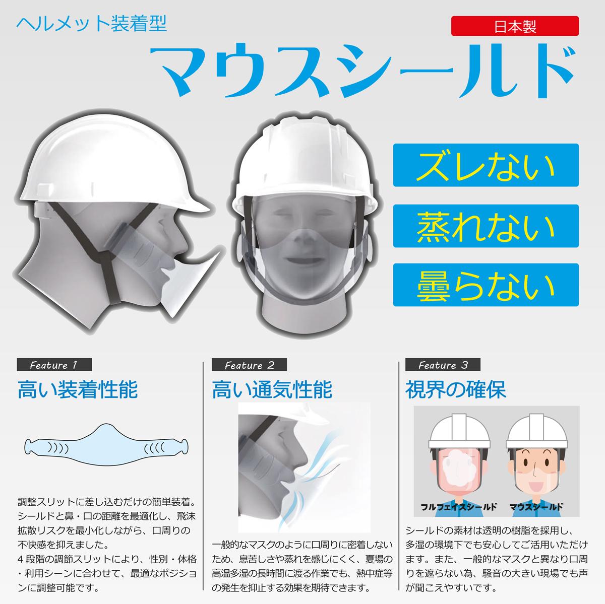 【1ケース50個入】ヘルメット用マウスシールド 顎紐装着タイプ